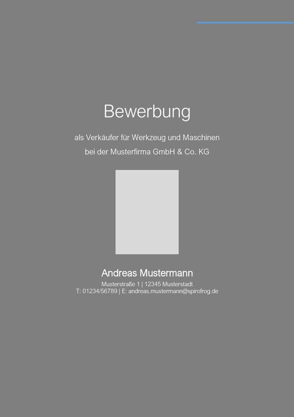 Vorlage / Muster: Bewerbungsdeckblatt Verkäufer / Verkäuferin