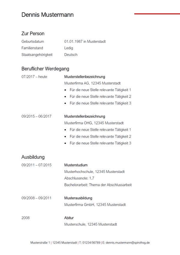 Vorlage / Muster: Kompletter Lebenslauf 1