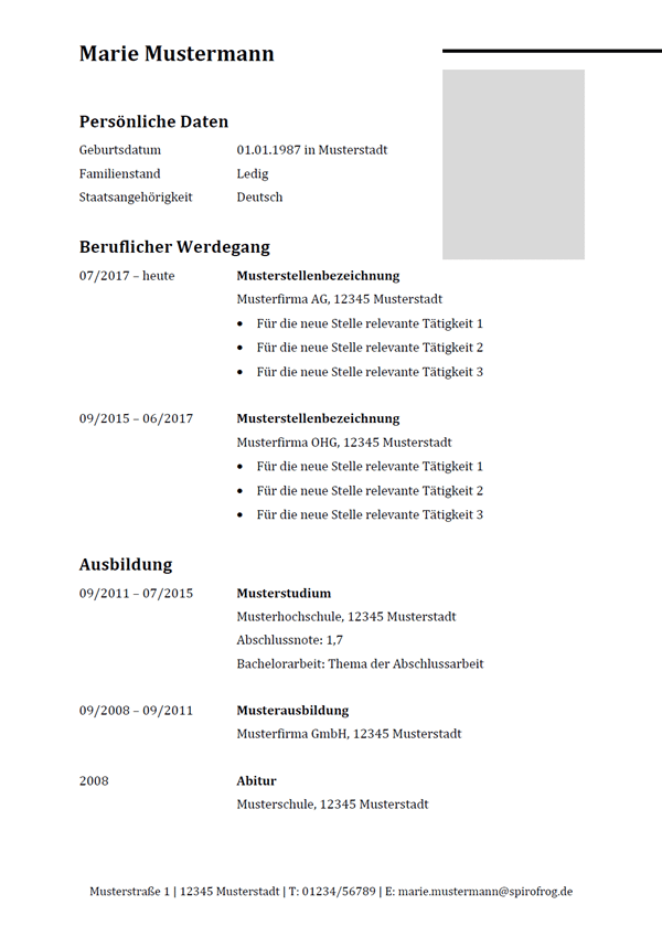 Vorlage / Muster: Lebenslauf mit angegebener Ausbildung