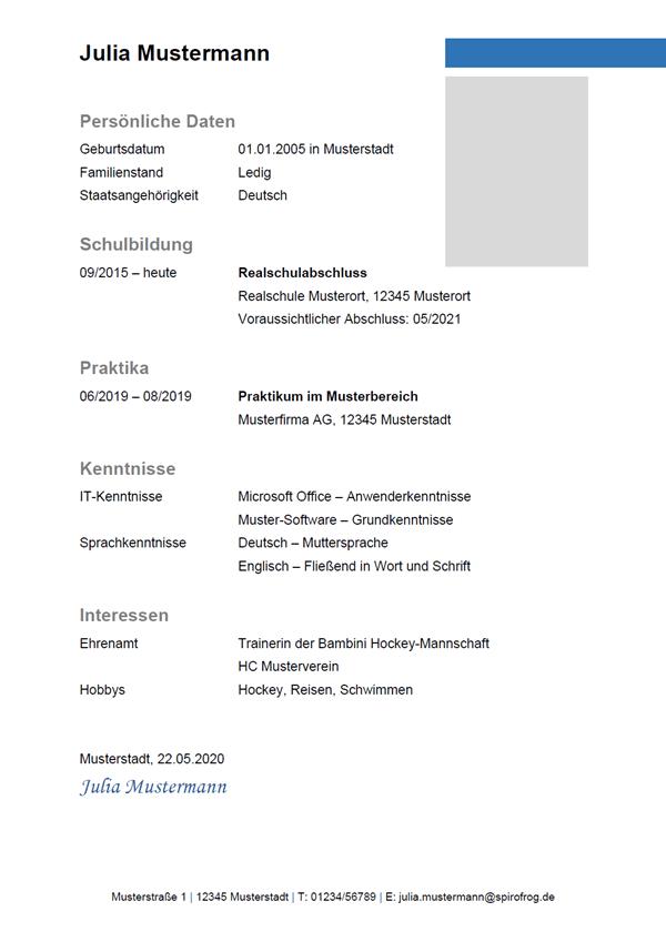 Vorlage / Muster: Lebenslauf Ausbildung 5