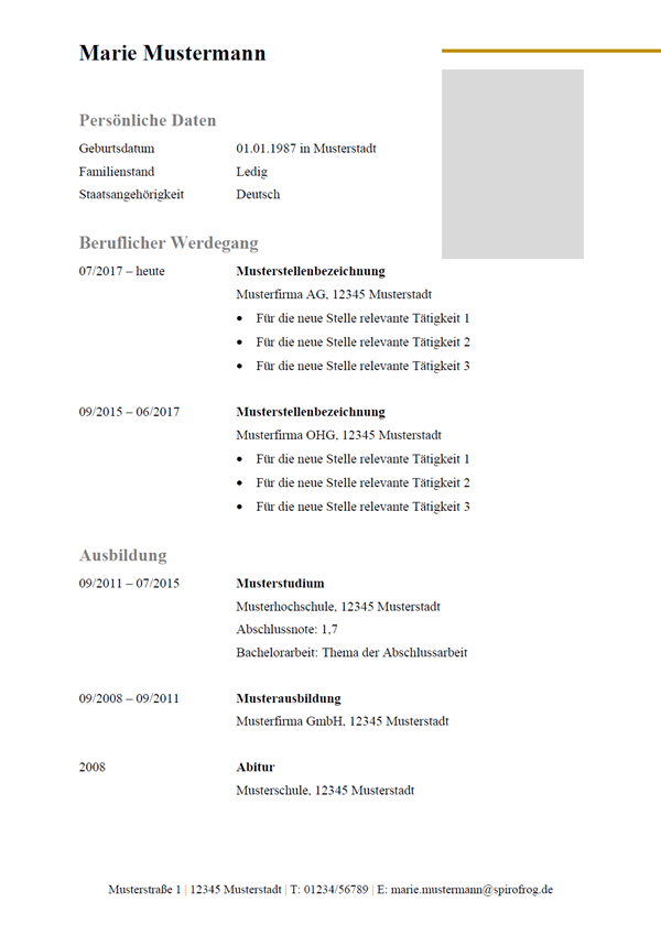 Vorlage / Muster: Lebenslauf Design-Vorlage 7