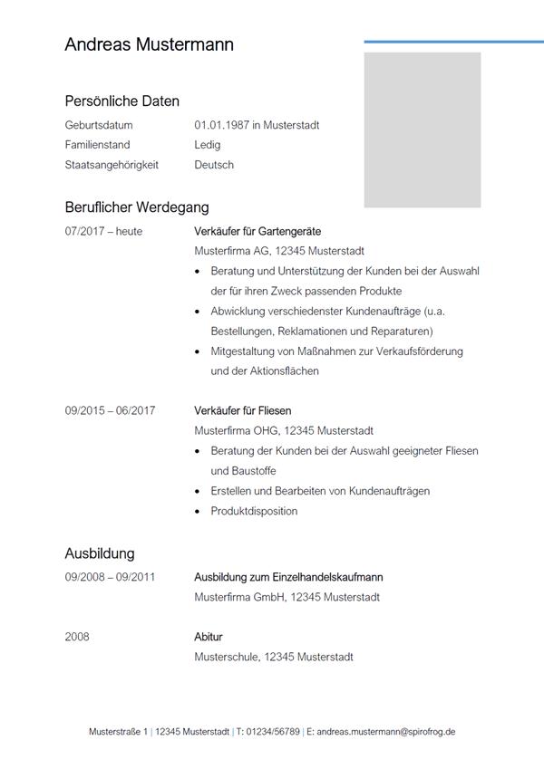 Vorlage / Muster: Lebenslauf Verkäufer / Verkäuferin