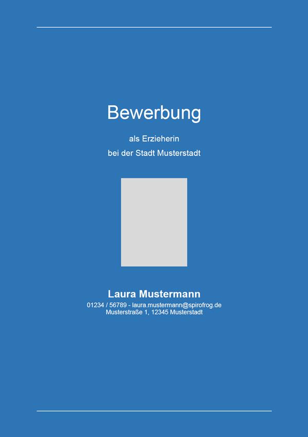 Vorlage / Muster: Bewerbungsdeckblatt Erzieher / Erzieherin