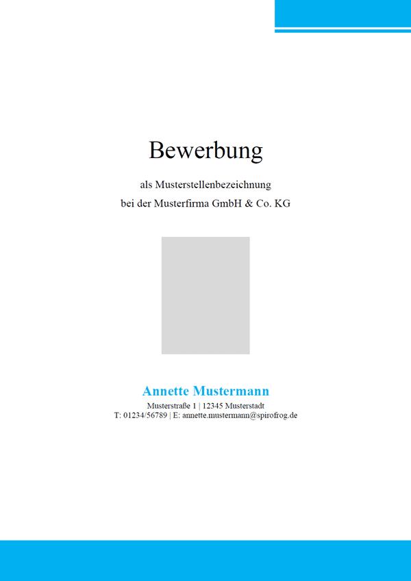Vorlage / Muster: Bewerbungsdeckblatt modern 12