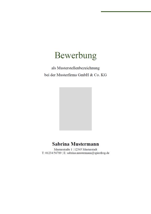 Vorlage / Muster: Bewerbungsdeckblatt schlicht 15