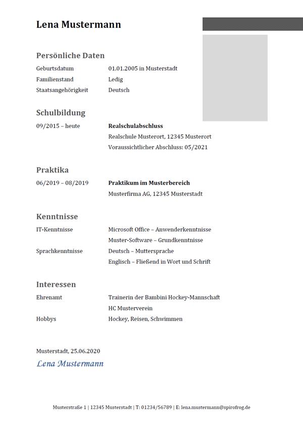 Vorlage / Muster: Lebenslauf-Beispiel 14