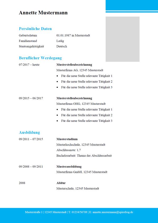 Vorlage / Muster: Lebenslauf modern 12