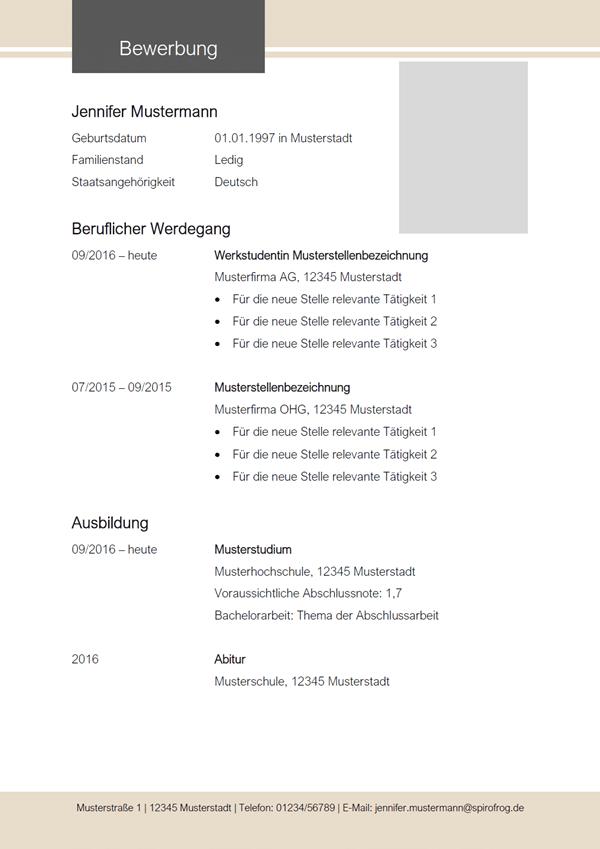Vorlage / Muster: Lebenslauf-Vorlage 2020