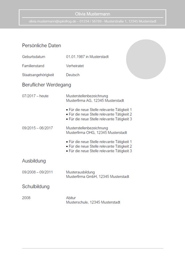 Vorlage / Muster: Lebenslauf 25