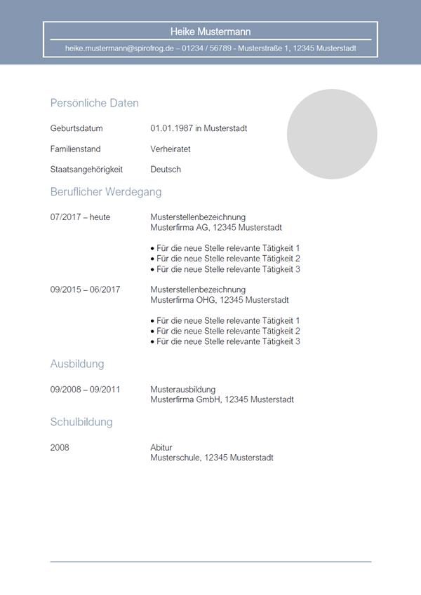 Vorlage / Muster: Lebenslauf 27
