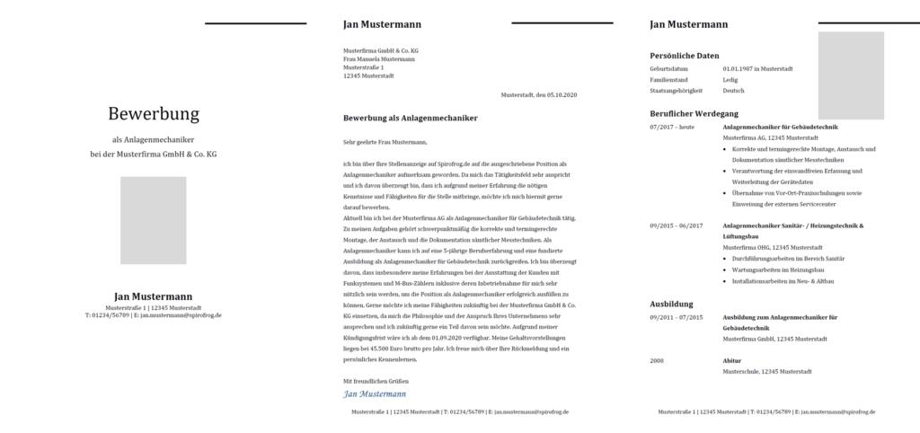 Vorlage / Muster: Bewerbung Anlagenmechaniker / Anlagenmechanikerin