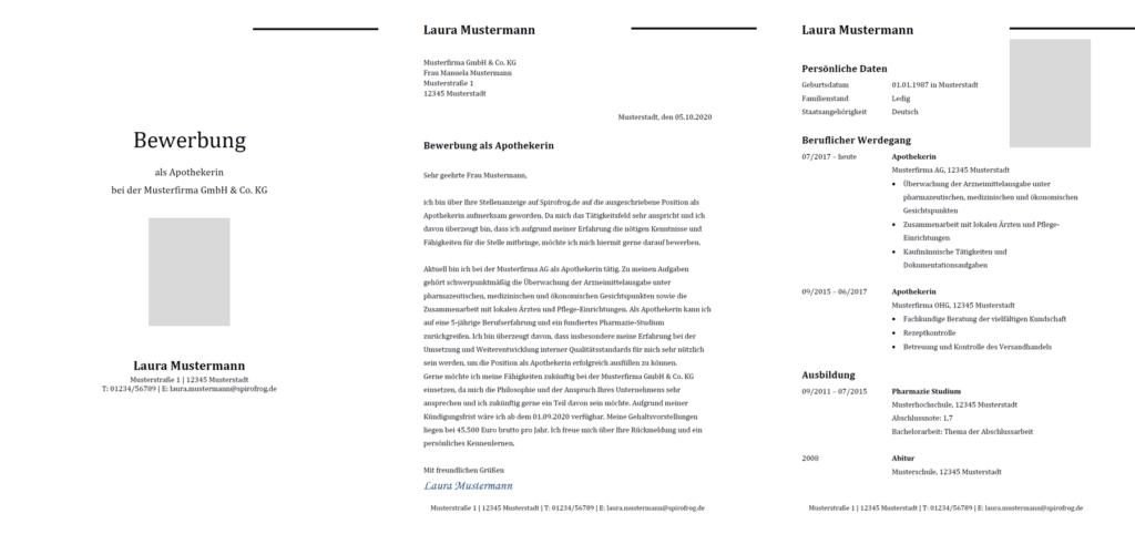 Vorlage / Muster: Bewerbung Apotheker / Apothekerin