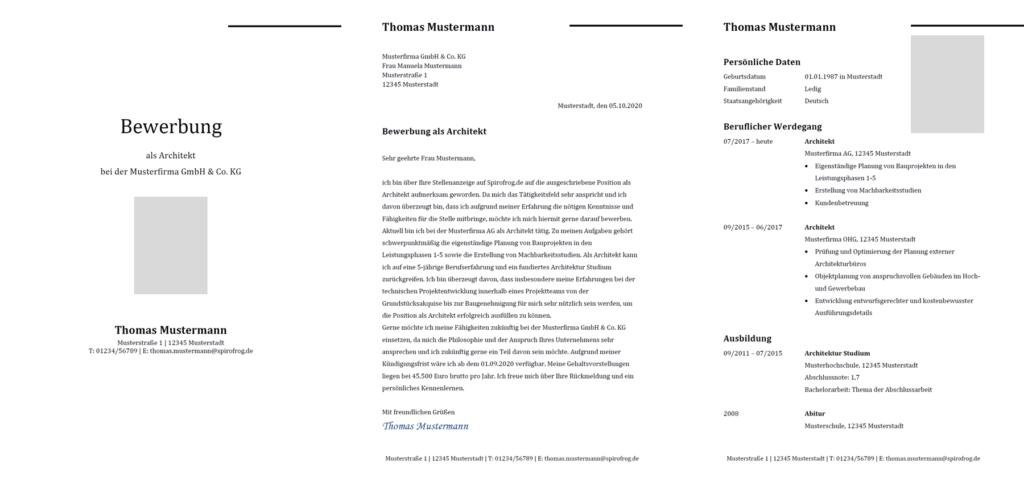 Vorlage / Muster: Bewerbung Architekt / Architektin