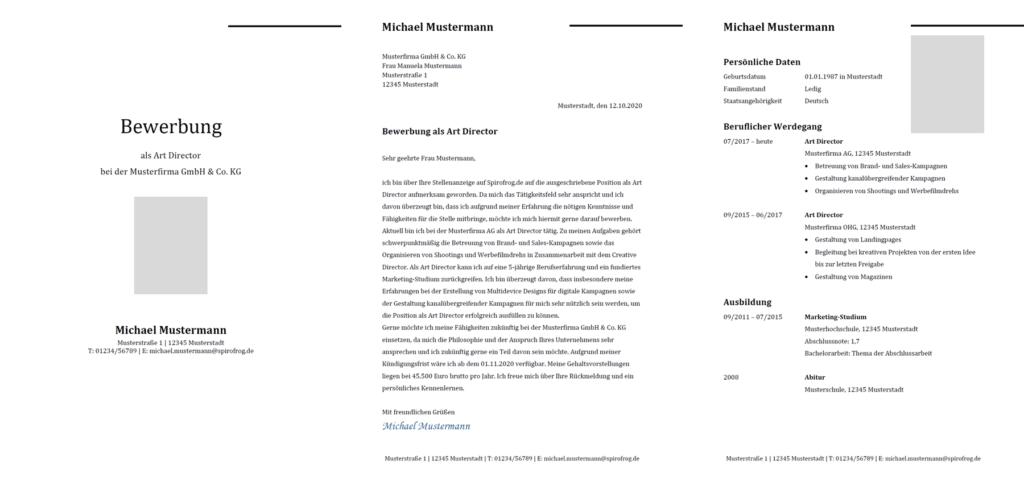 Vorlage / Muster: Bewerbung Art Director / Art Directorin