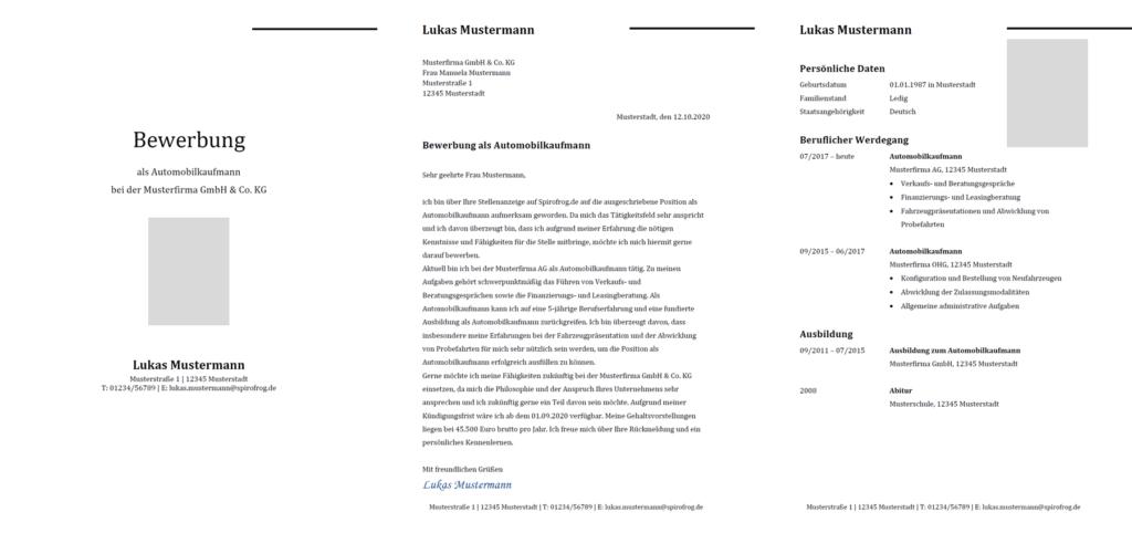 Vorlage / Muster: Bewerbung Automobilkaufmann / Automobilkauffrau