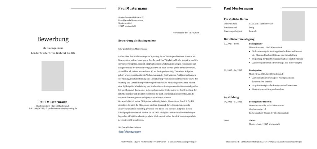 Vorlage / Muster: Bewerbung Bauingenieur / Bauingenieurin
