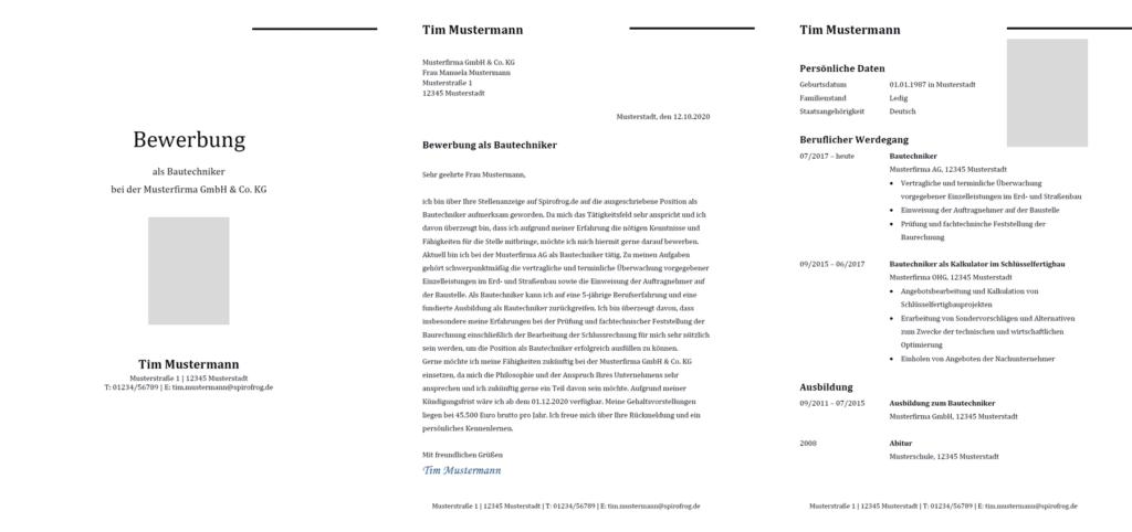 Vorlage / Muster: Bewerbung Bautechniker / Bautechnikerin
