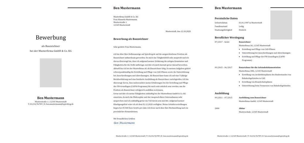 Vorlage / Muster: Bewerbung Bauzeichner / Bauzeichnerin