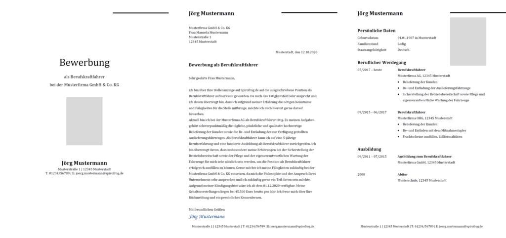Vorlage / Muster: Bewerbung Berufskraftfahrer / Berufskraftfahrerin