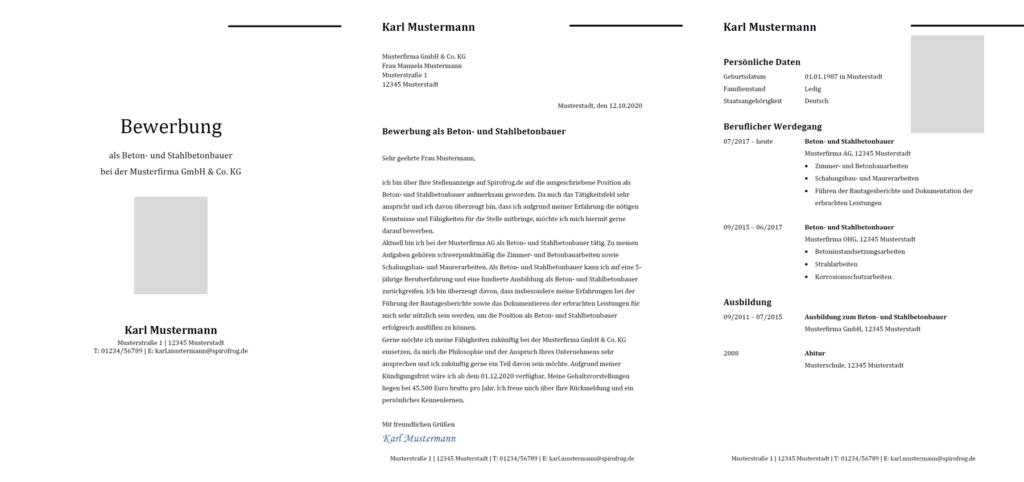 Vorlage / Muster: Bewerbung Beton- und Stahlbetonbauer / Beton- und Stahlbetonbauerin