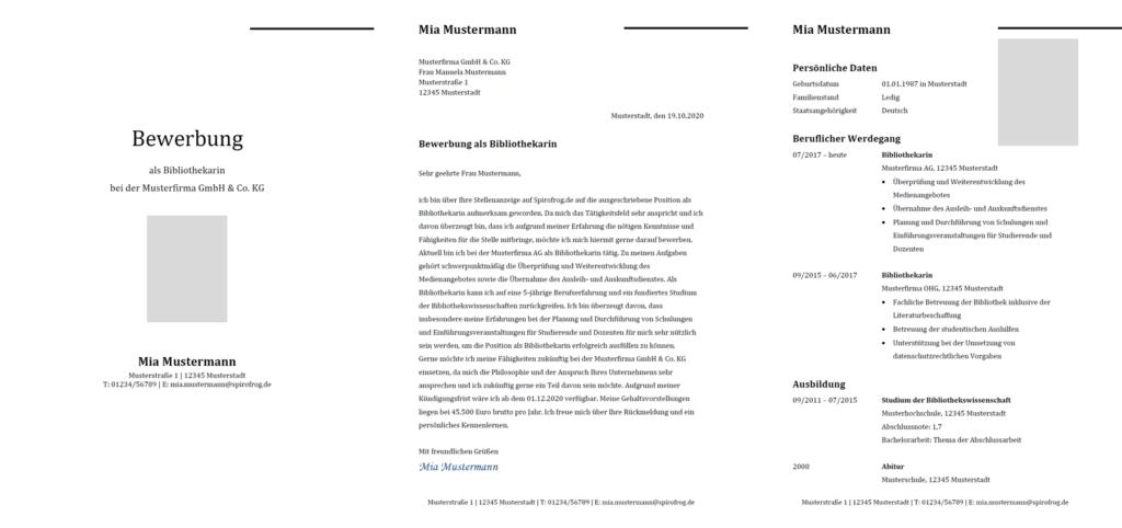 Vorlage / Muster: Bewerbung Bibliothekar / Bibliothekarin