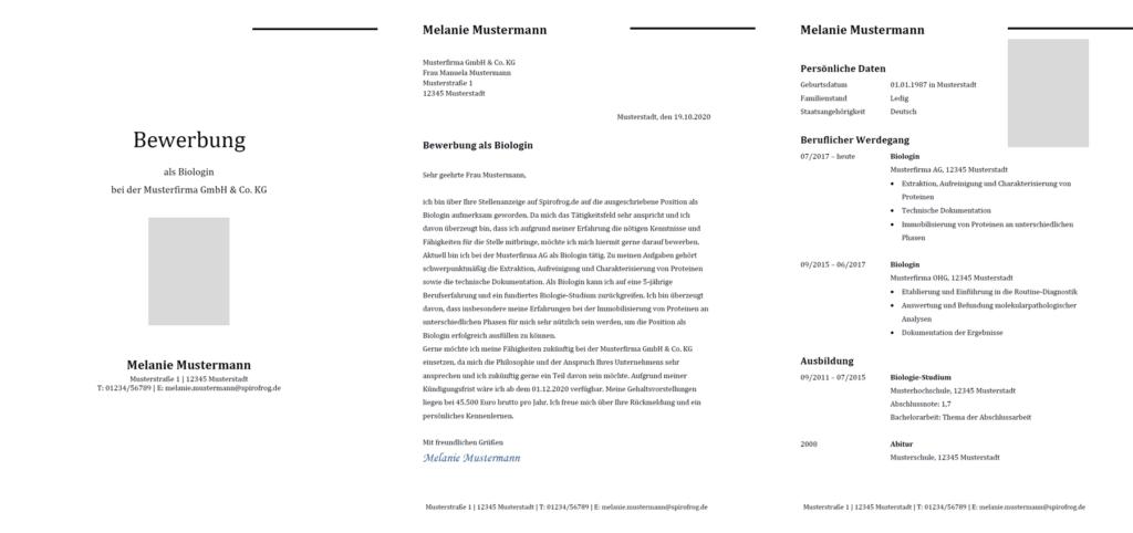 Vorlage / Muster: Bewerbung Biologe / Biologin