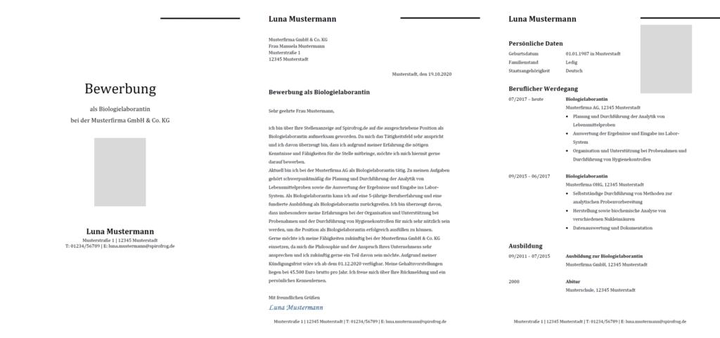 Vorlage / Muster: Bewerbung Biologielaborant / Biologielaborantin