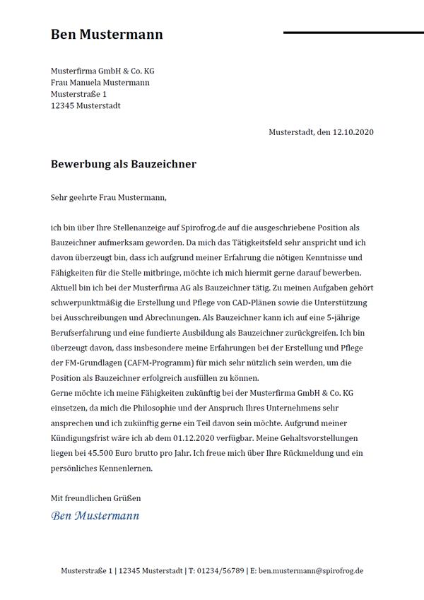 Vorlage / Muster: Bewerbungsanschreiben Bauzeichner / Bauzeichnerin