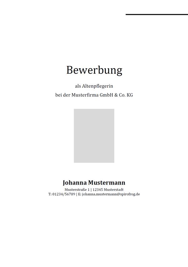 Vorlage / Muster: Bewerbungsdeckblatt Altenpfleger / Altenpflegerin