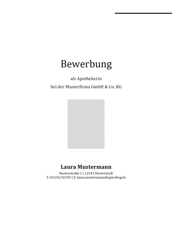 Vorlage / Muster: Bewerbungsdeckblatt Apotheker / Apothekerin
