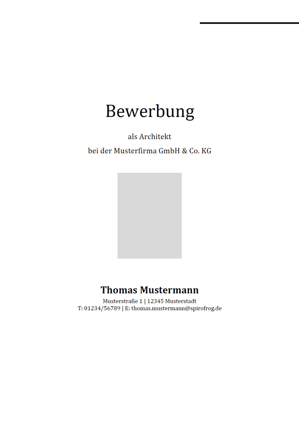 Vorlage / Muster: Bewerbungsdeckblatt Architekt / Architektin