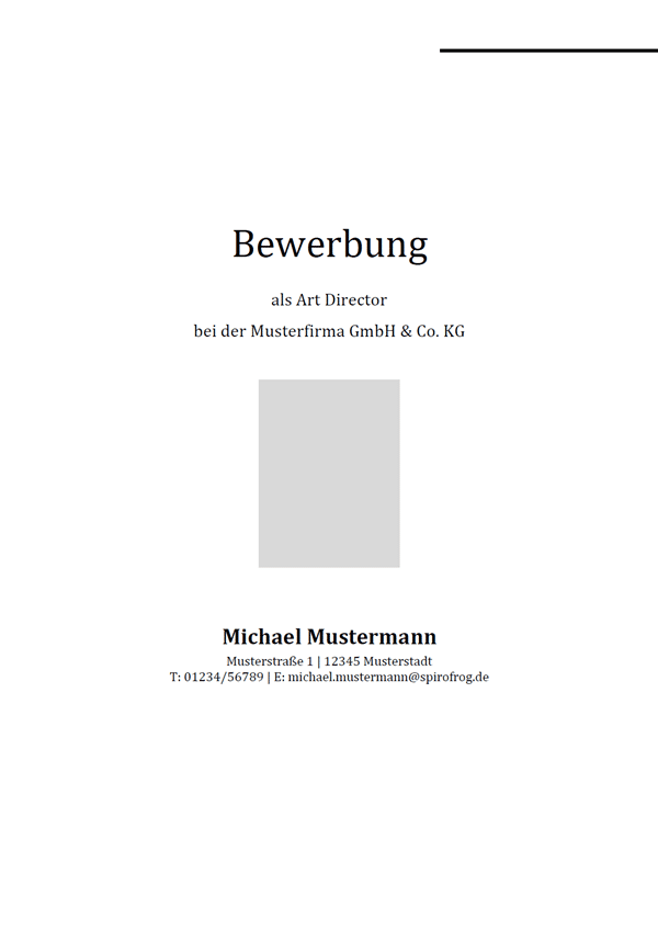 Vorlage / Muster: Bewerbungsdeckblatt Art Director / Art Directorin