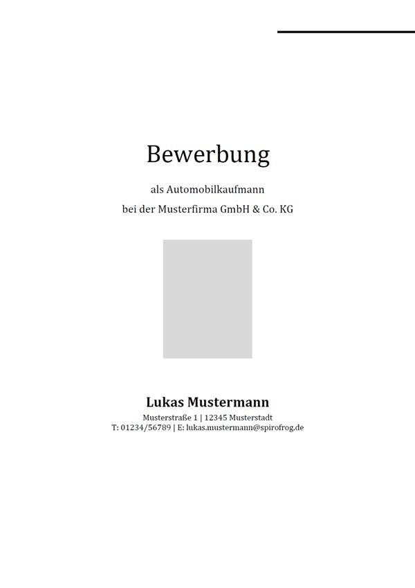 Vorlage / Muster: Bewerbungsdeckblatt Automobilkaufmann / Automobilkauffrau