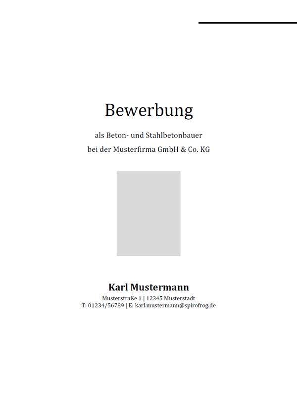 Vorlage / Muster: Bewerbungsdeckblatt Beton- und Stahlbetonbauer / Beton- und Stahlbetonbauerin