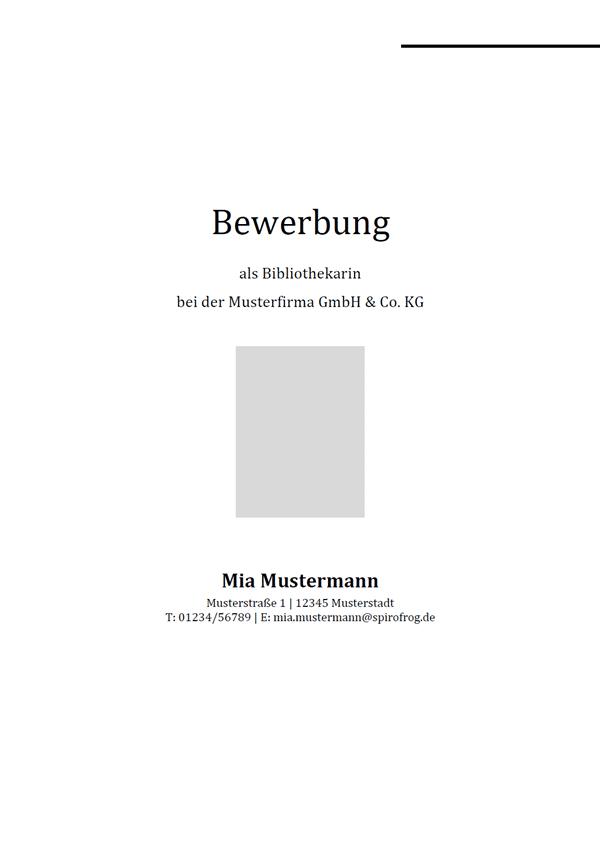 Vorlage / Muster: Bewerbungsdeckblatt Bibliothekar / Bibliothekarin