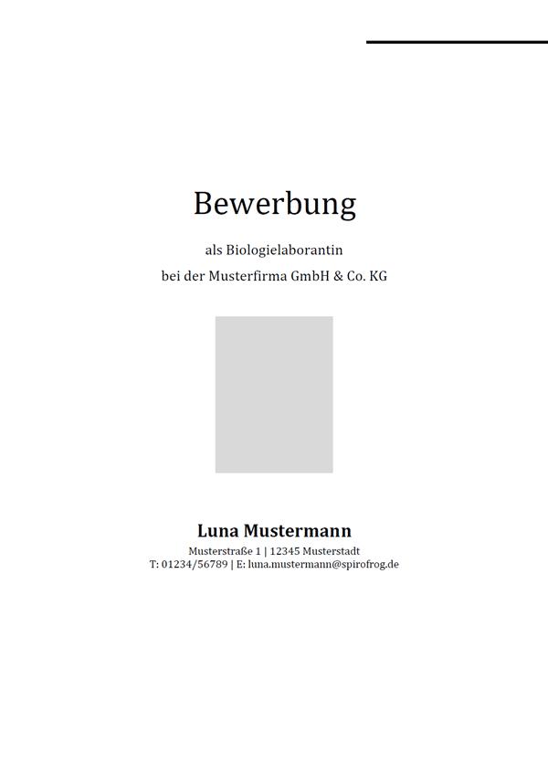 Vorlage / Muster: Bewerbungsdeckblatt Biologielaborant / Biologielaborantin