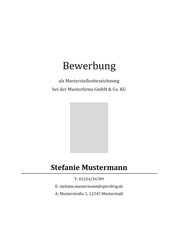 Vorlage / Muster: Bewerbungsdeckblatt klassisch