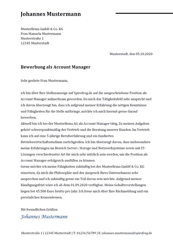 Vorlage / Muster: Bewerbungsschreiben Account Manager / Account Managerin