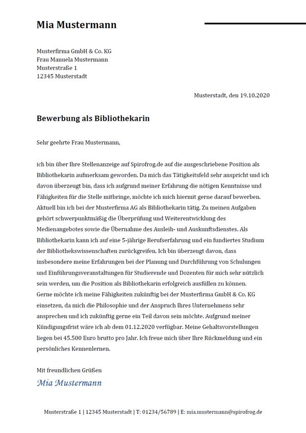 Vorlage / Muster: Bewerbungsschreiben Bibliothekar / Bibliothekarin