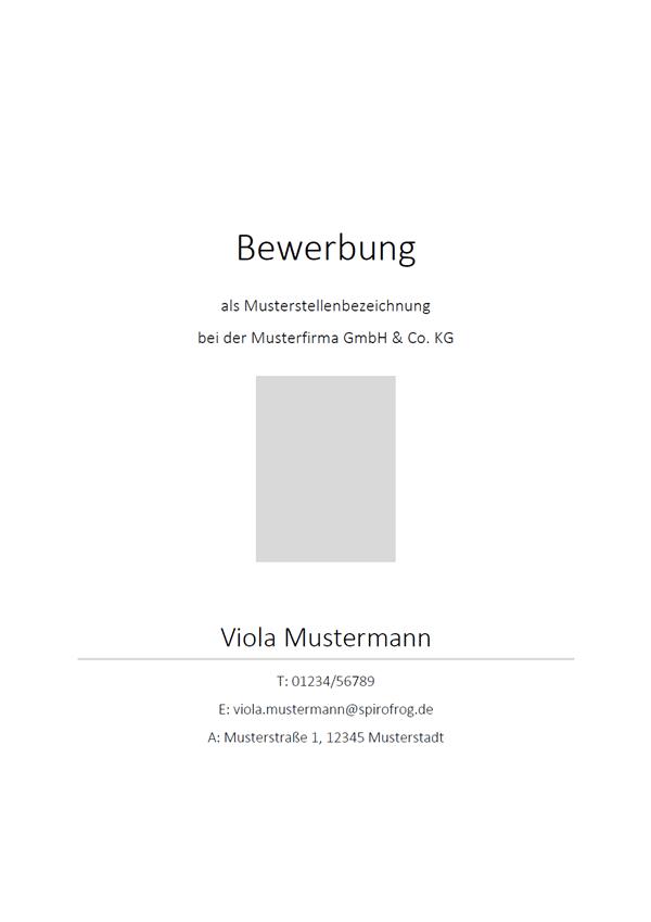Vorlage / Muster: Klassisches Bewerbungsdeckblatt
