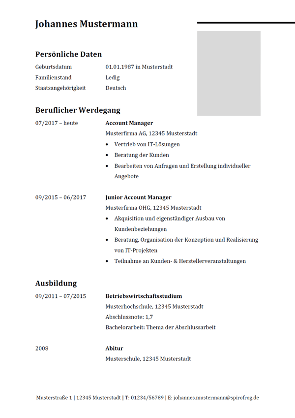 Vorlage / Muster: Lebenslauf Account Manager / Account Managerin