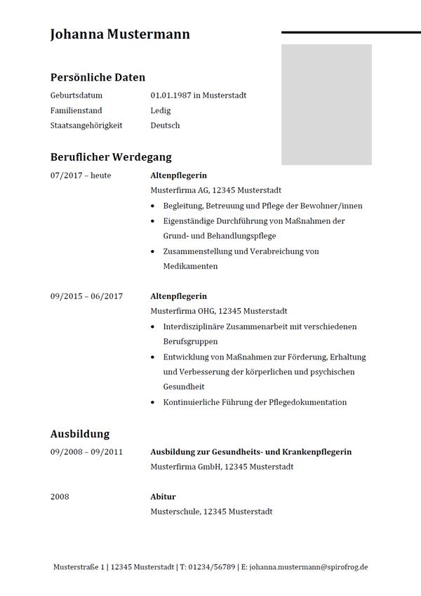 Vorlage / Muster: Lebenslauf Altenpfleger / Altenpflegerin