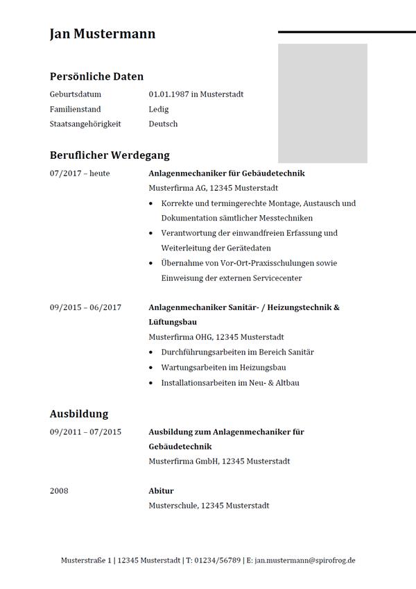 Vorlage / Muster: Lebenslauf Anlagenmechaniker / Anlagenmechanikerin