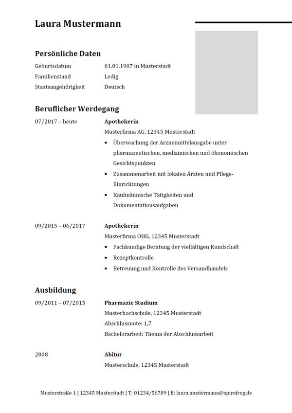 Vorlage / Muster: Lebenslauf Apotheker / Apothekerin