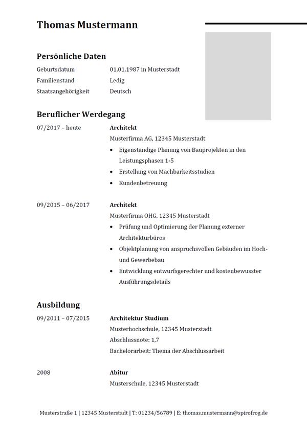 Vorlage / Muster: Lebenslauf Architekt / Architektin