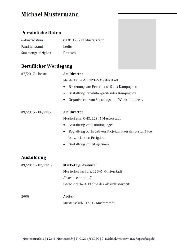 Vorlage / Muster: Lebenslauf Art Director / Art Directorin