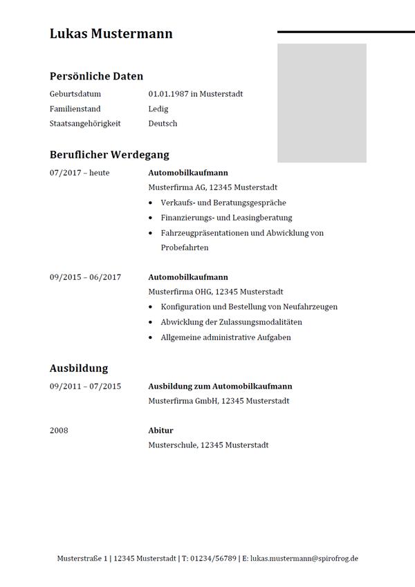 Vorlage / Muster: Lebenslauf Automobilkaufmann / Automobilkauffrau
