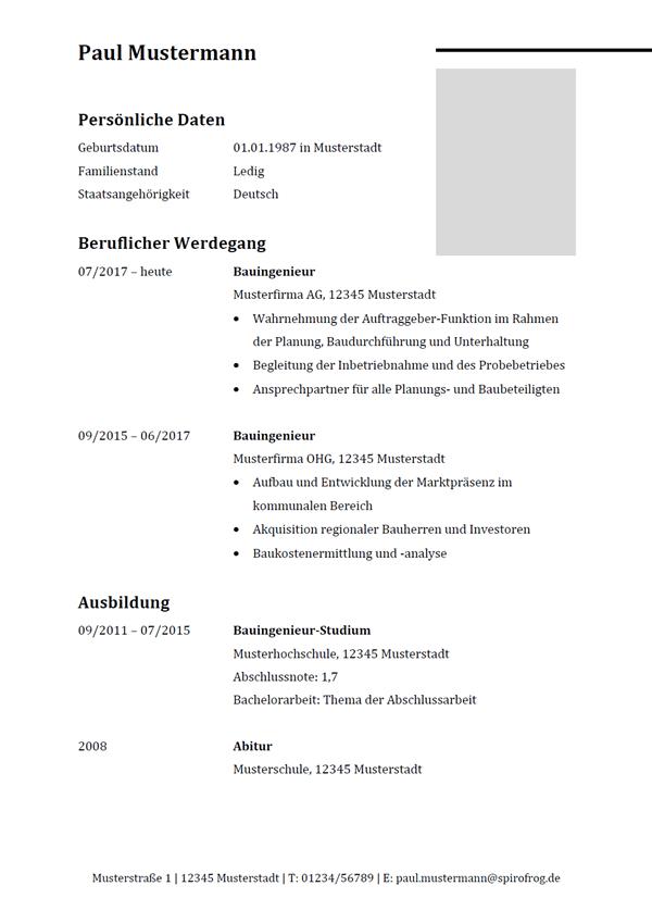 Vorlage / Muster: Lebenslauf Bauingenieur / Bauingenieurin