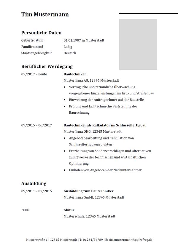 Vorlage / Muster: Lebenslauf Bautechniker / Bautechnikerin