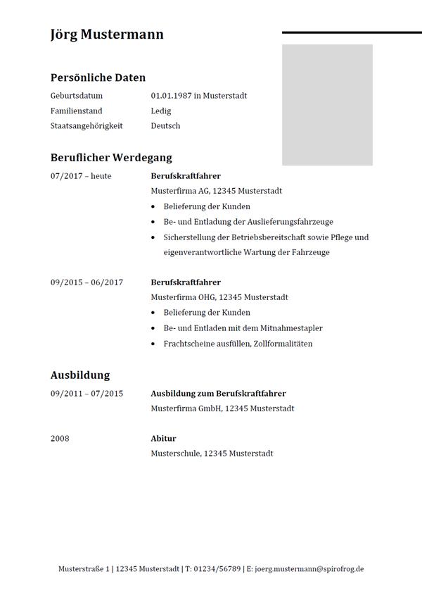 Vorlage / Muster: Lebenslauf Berufskraftfahrer / Berufskraftfahrerin